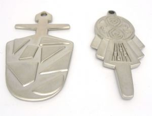 Doctor Who, a pair of SILVER TARDIS KEYS Scale 1:1,  prop replica